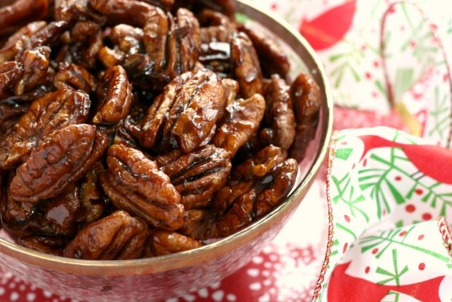 Maple Molasses Candied Pecans are the perfect hostess gift and an easy snack for guests.