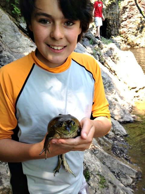 Quincy with frog