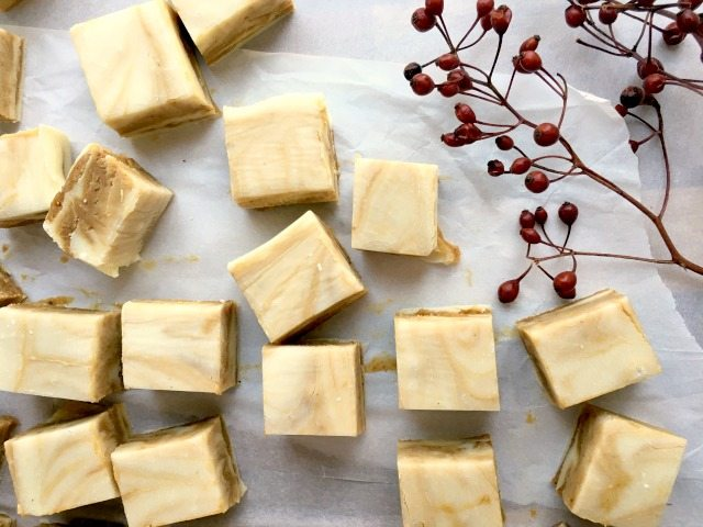 White Chocolate Gingerbread Fudge, a quick and easy fudge recipe made with sweetened condensed milk, chocolate chips, molasses and spices.