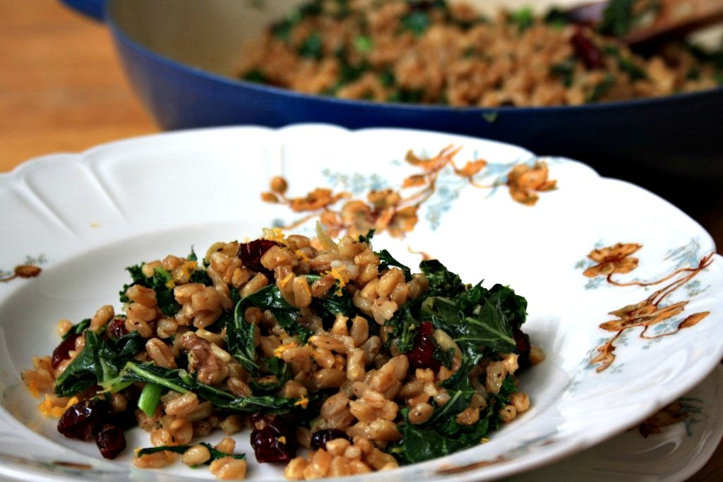 Farro with kale and cranberries, a hearty grain salad or side dish made extra delicious with a simple molasses vinaigrette (with cider vinegar and mustard)