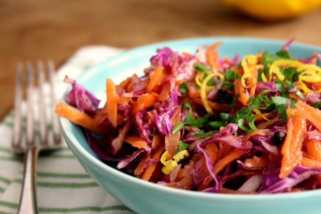 Carrot cabbage slaw with tangy orange dressing