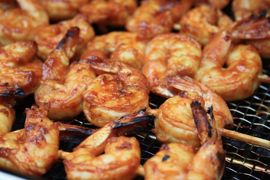 Molasses grilled shrimp with garlic and herbs