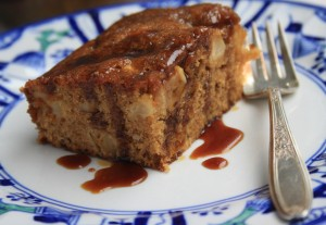 Apple cake with molasses cider glaze