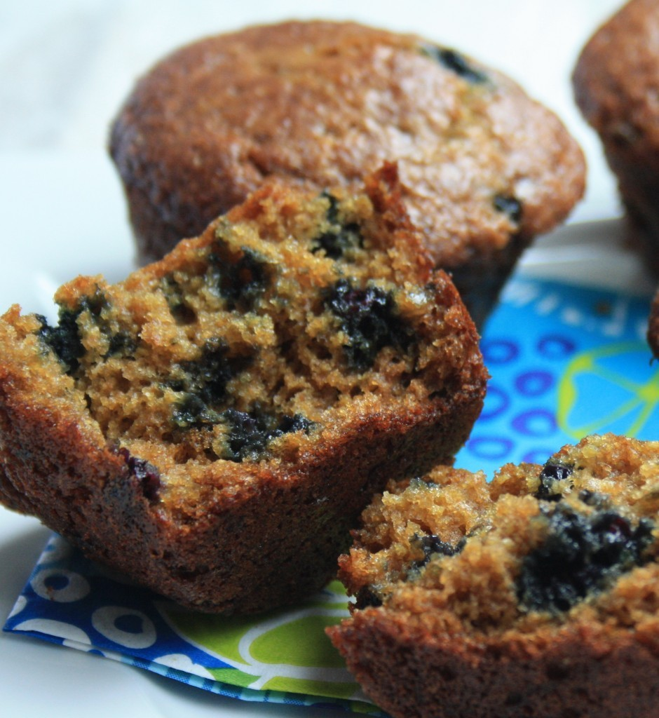 healthy blueberry wheat germ muffins