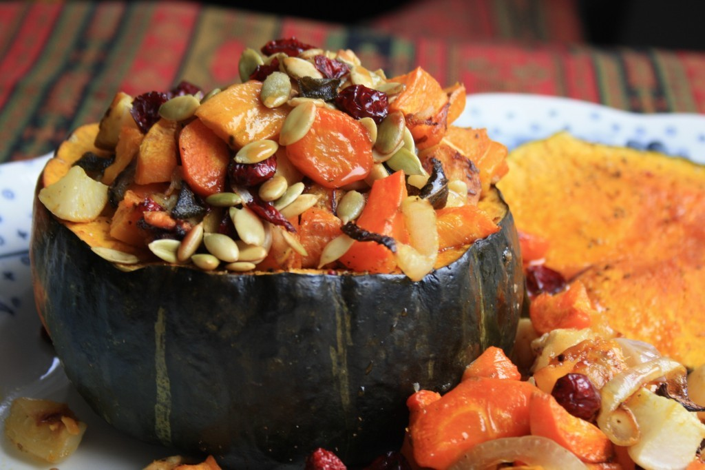 Roasted root vegetables recipe with molasses cider glaze. Served in a hollowed out roasted squash, it's impressive, and easy.