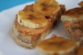 Peanut butter and molasses breakfast sandwich
