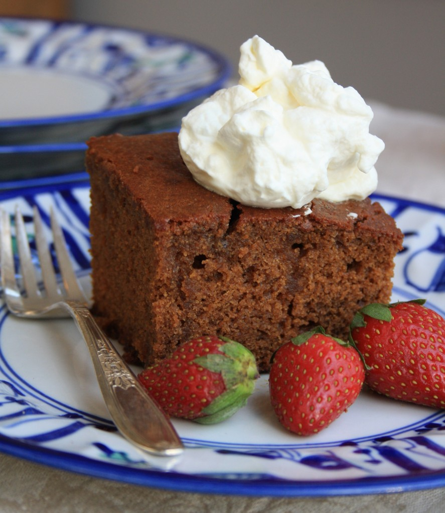 Molasses ginger cake soaked with a buttery brown sugar sauce