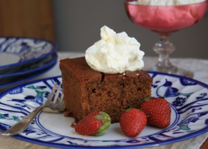 Soaked ginger cake - drenched in a warm buttery brown sugar sauce