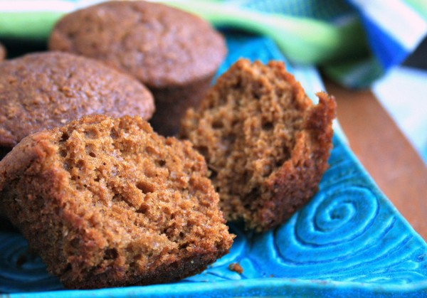 Healthy ginger molasses muffins are light textured and wholesome. Made with fresh ginger and your choice of natural bran, wheat germ or ground flax.