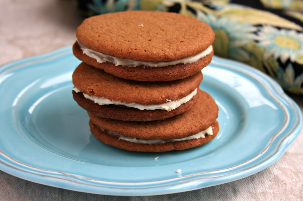 Buttery brown sugar molasses cookies sandwiched with a creamy frosting
