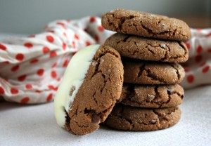 Chewy chocolate molasses crinkles dipped in white chocolate