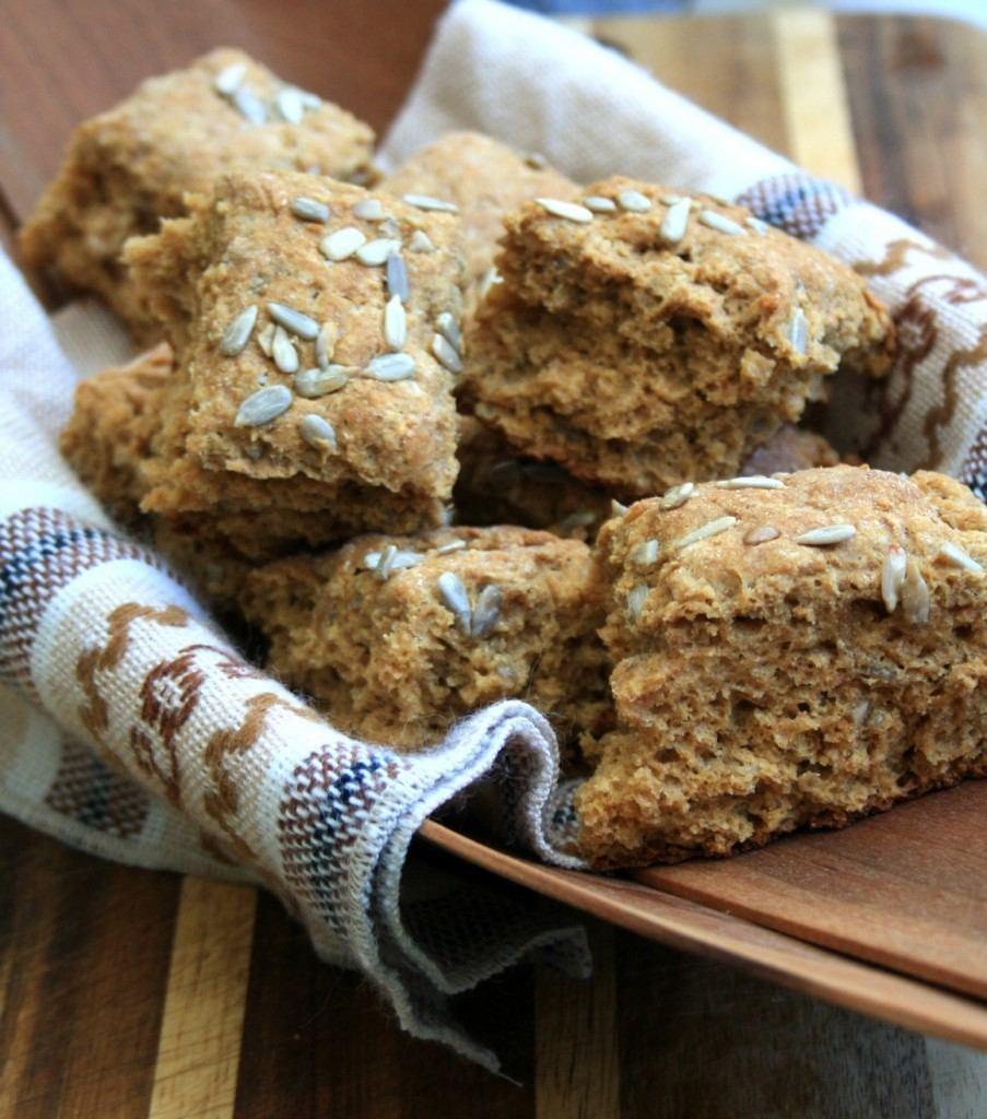 Sweet molasses scones sprinkled with crunchy sunflower seeds.