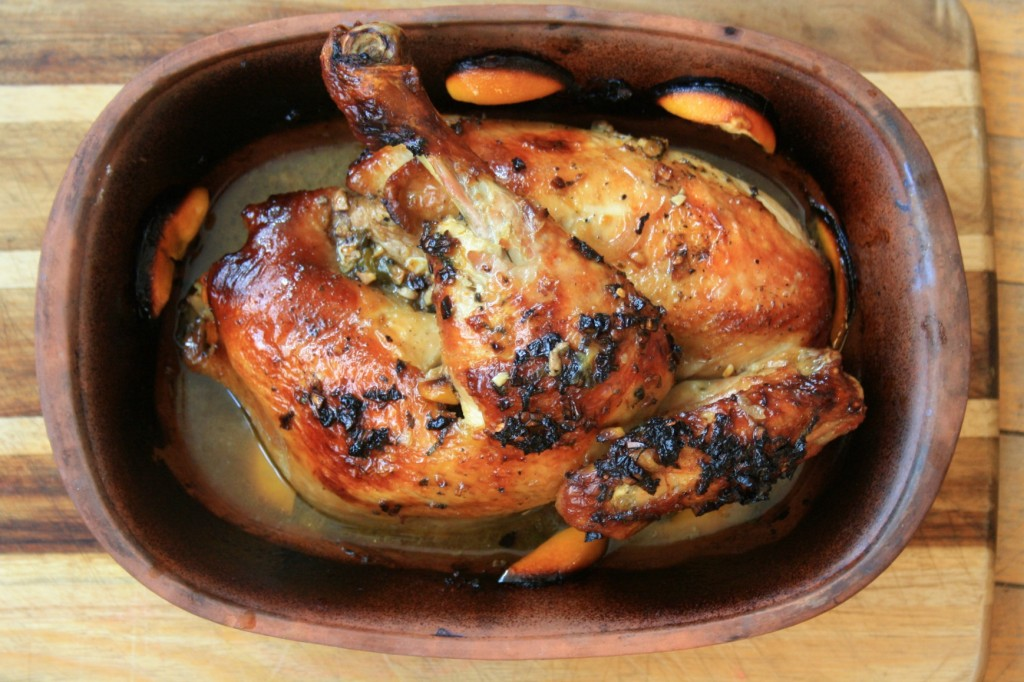 Lemon roasted chicken with molasses soy glaze is easy and flavourful