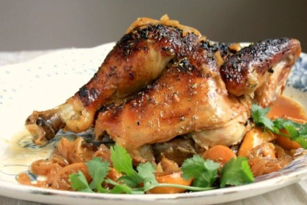 Lemon roasted chicken: The molasses-soy glaze is spiked with garlic and citrus zest and adds great body and flavour. Baking the chicken covered helps to lock in all the juices.
