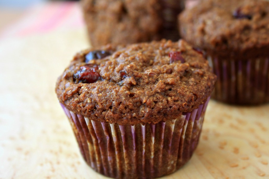 Bran muffin recipe with flax, dried cranberries and orange zest