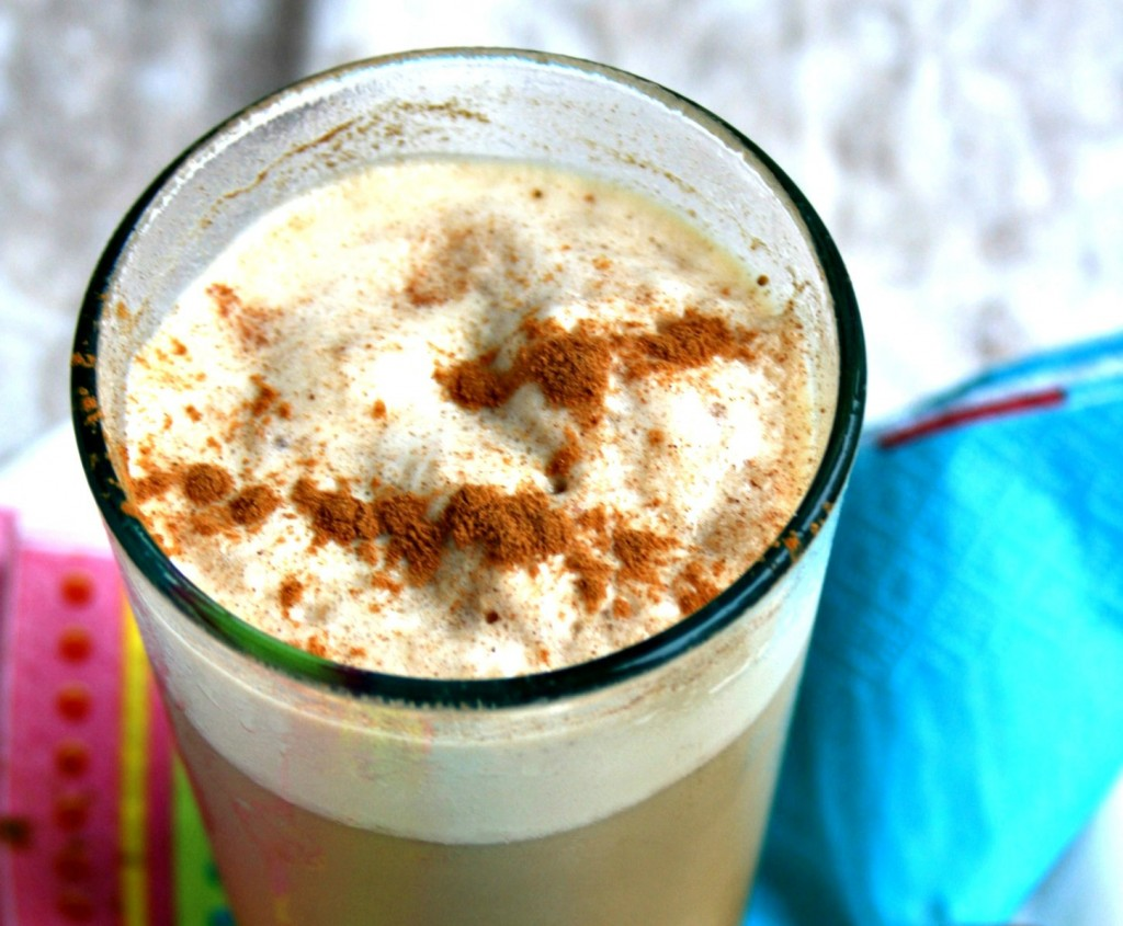 Iced chai latte with molasses; a little slushy, a little frothy and a little sweet.