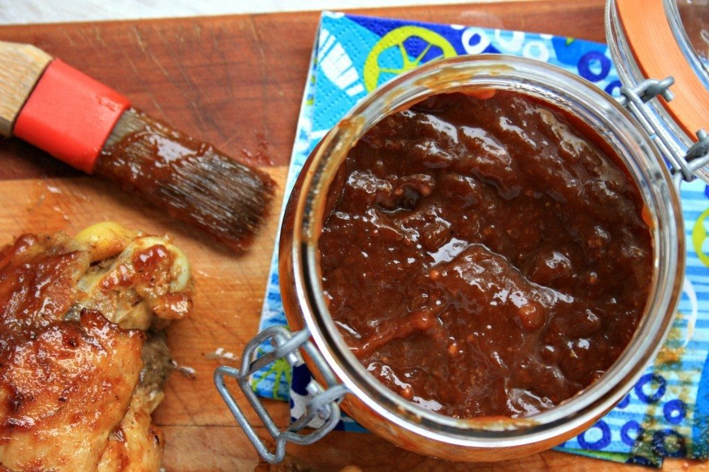 rhubarb barbecue sauce is tangy and sweet