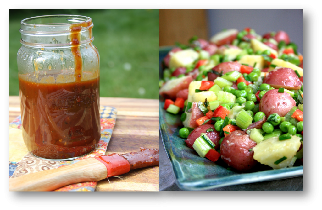 Beer BBQ sauce and potato salad