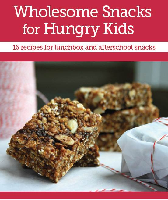 Wholesome snacks for kids - a free e-book featuring 16 recipes for lunchbox and afterschool snacks