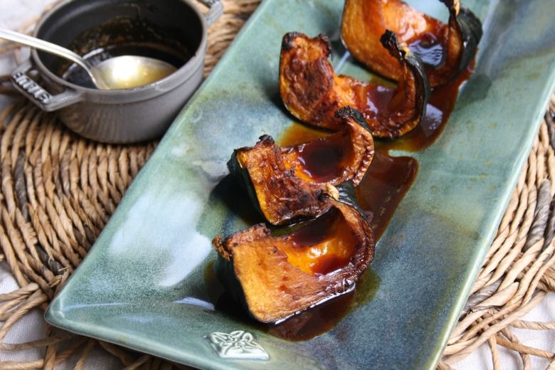 Roasted squash with molasses cider glaze