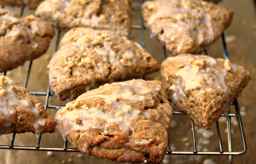 molasses walnut scones with vanilla glaze