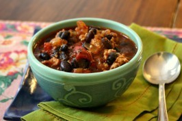 Black bean turkey chili combines some sweet with heat.