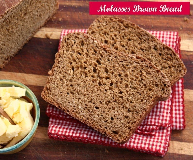 Molasses Brown Bread on red cloth