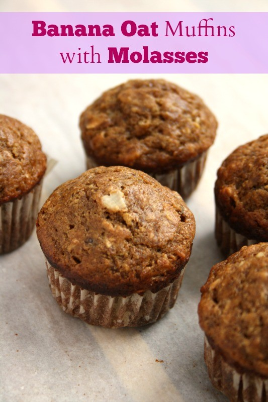 banana oat muffins with molasses are wholesome and nutritious