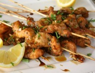 easy molasses and soy glazed salmon skewers