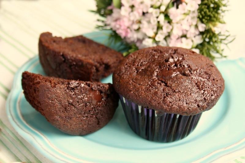 double chocolate rye muffins