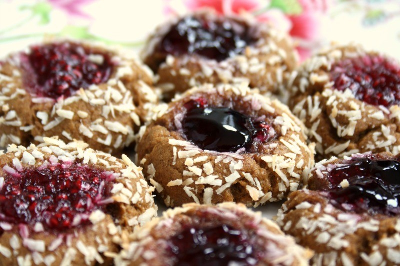 gingerbread coconut thumbprint cookies