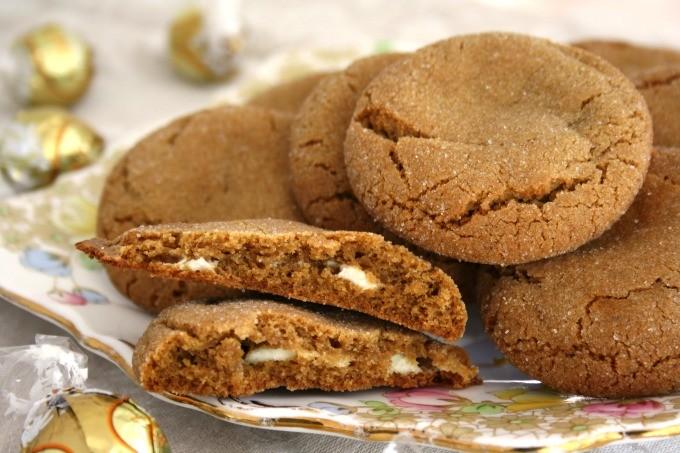 white chocolate truffle stuffed molasses cookies