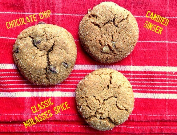 molasses spice crinkle cookies three ways