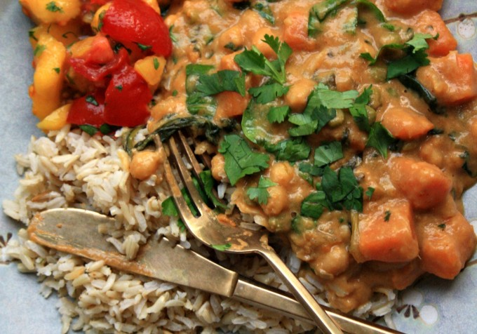 Healthy big batch suppers:  Chickpea sweet potato curry