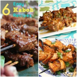 6 easy kabob recipes, including chicken, pork, fish, shrimp, steak and 6 marinade recipes that you can mix and match