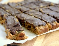 Dark chocolate almond bars recipe - made with flax and dried fruit. They're moist and wholesome, gluten free and full of healthy stuff