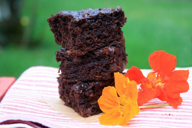 Zucchini Brownies with molasses and flax. Moist and healthy. Low-sugar recipe variation included.
