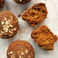 Pumpkin oat molasses muffins have a light texture and a delicious pumpkin pie spice flavour. No refined sugar.