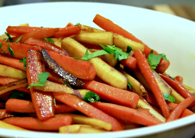 molasses glazed carrots and parsnips