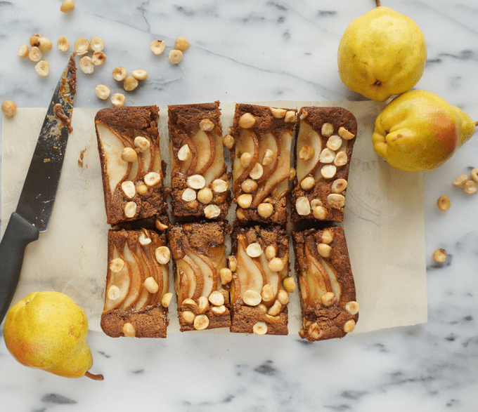 pear hazelnut blondies