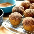 Cinnamon sugar dipped mini pumpkin muffins, mini muffins that taste like doughnuts