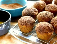 Cinnamon sugar dipped mini pumpkin muffins, mini muffins that taste like doughnuts