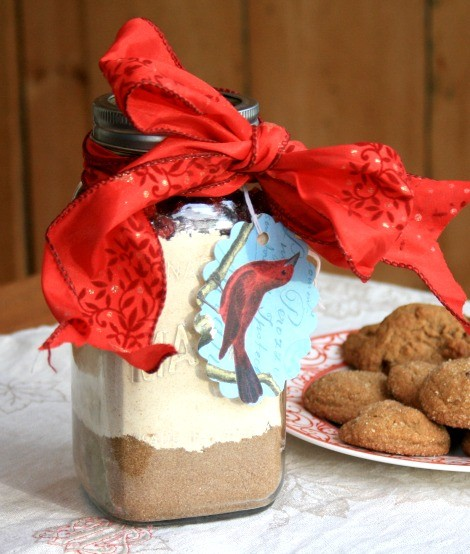 Easy edible gifts: homemade cookie mix in a jar: orange spice crackle cookies