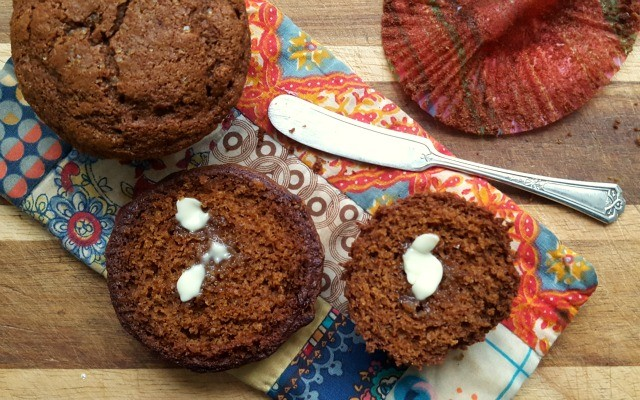 whole wheat buttermilk gingerbread muffins