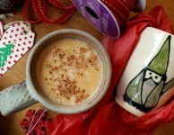 hot milk with gingerbread spices and molasses