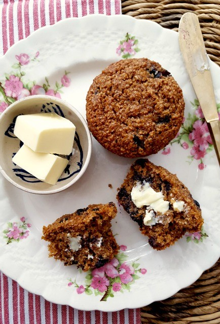 Healthy blueberry bran muffins are light-textured and moist. They're made with a generous amount of bakers bran (natural wheat bran) which is the key to their lofty texture. Blueberries and molasses keep them extra moist.