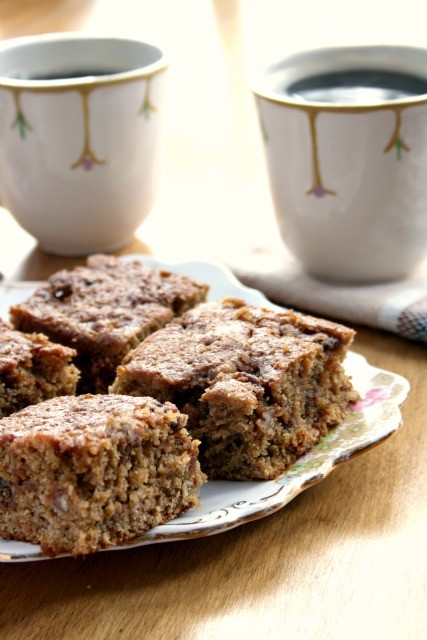 oatmeal brown sugar coffee cake is moist and wholesome