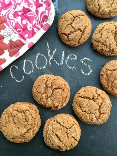 Bakery style molasses cookies are the easiest cookie recipe ever. You mix everything in a single pot and the dough requires no chilling. These gorgeous crinkle cookies travel well so make great lunch box cookies. And it's the perfect recipe for kids to bake in their own.