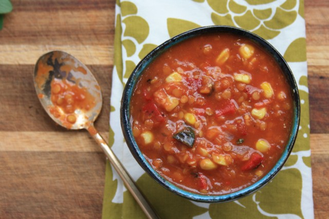 Roasted red pepper lentil soup is ready in 30 minutes.