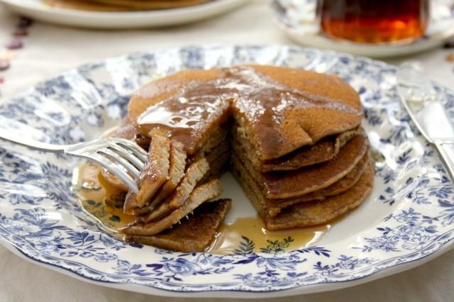 Buckwheat Flapjacks with Molasses Syrup